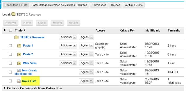 Visualizar a Lista de Referências em Repositório.
