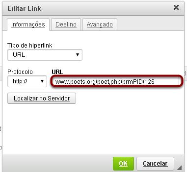 Digite a URL.