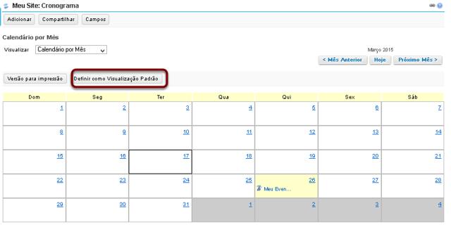 Definir modo de exibição padrão do calendário.