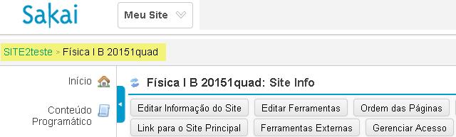 Exemplo: sites principal / filho no site filho.