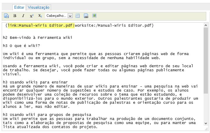 Visualizar / Editar links.