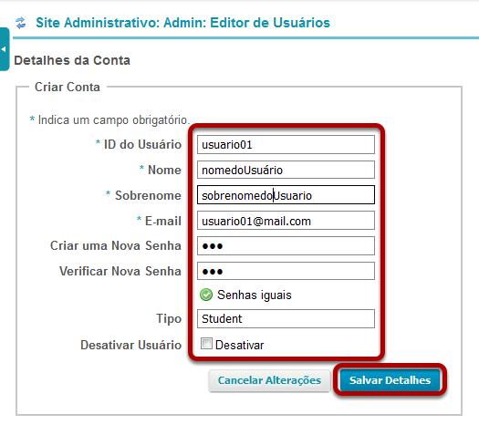 Insira as informações do usuário, em seguida, Salvar Detalhes.