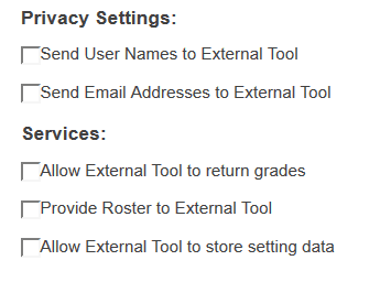Privacy settings/services