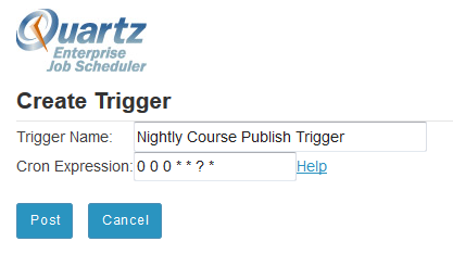 Enter a Trigger Name and Cron Expression.
