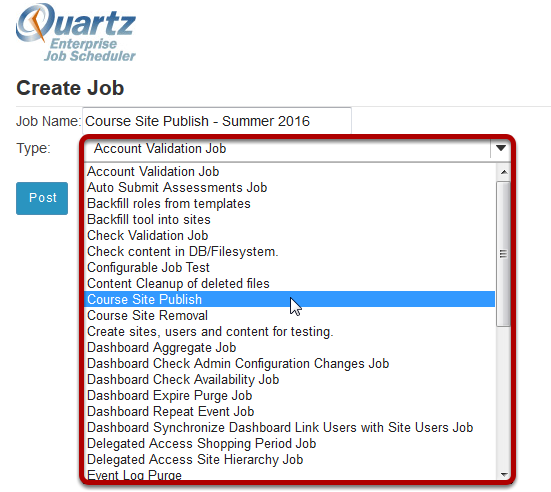 Select the job type from the drop-down menu.