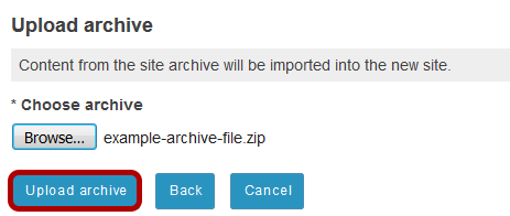 Click Upload archive.