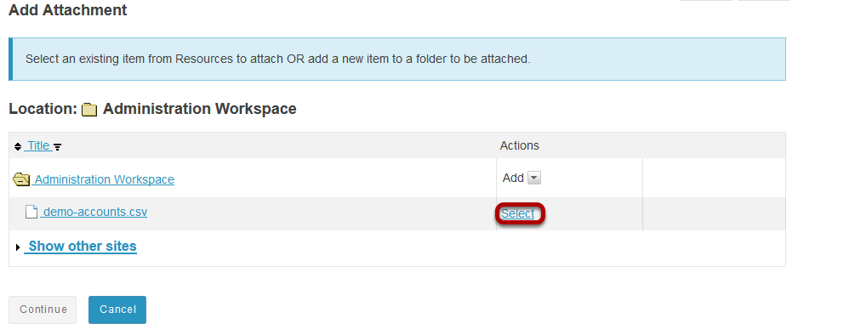 Select the import file.