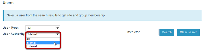 Select the User Authority from the drop-down menu.