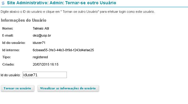 Informação do usuário será exibida.
