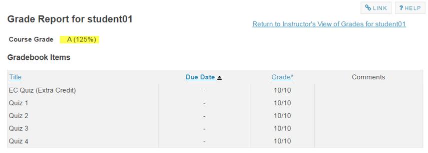 Example: EC item in gradebook with no categories.