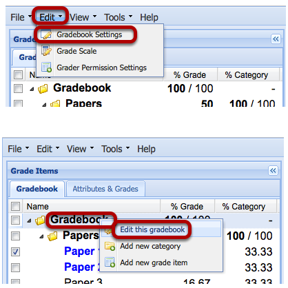 To set-up Gradebook, click Edit / Gradebook Settings