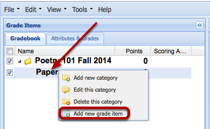 Add a grade item to the category.