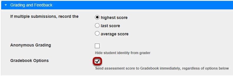 Send grades to gradebook.