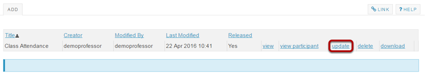 To update the feedback file, click Update.