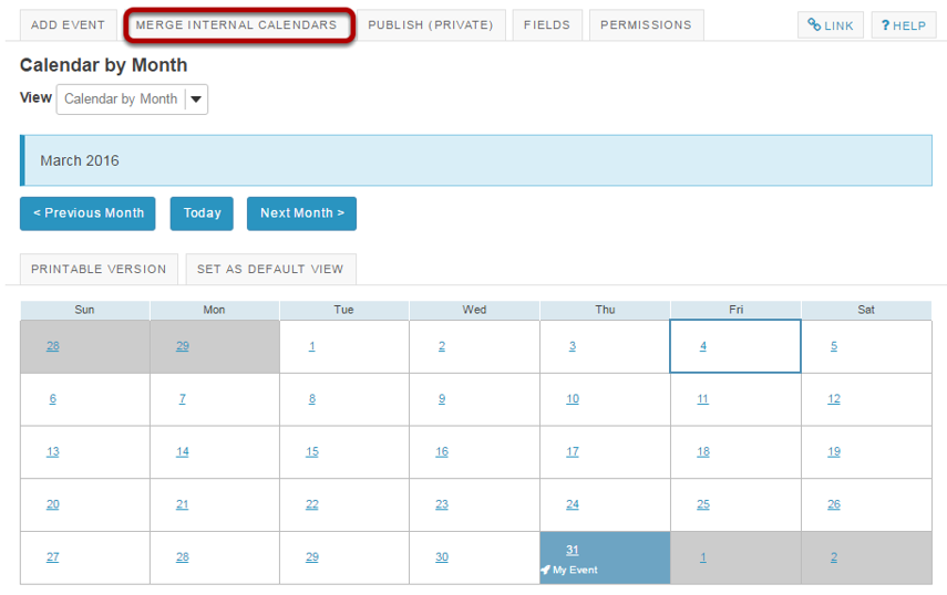 Click Merge Internal Calendars.