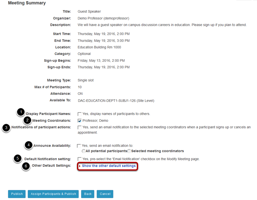 Review settings and select notification preferences.