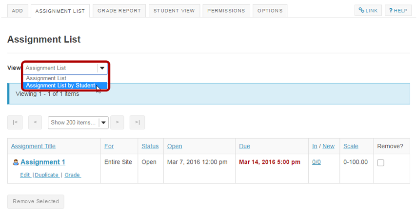 From the View drop-down menu, select Assignment List by Student.