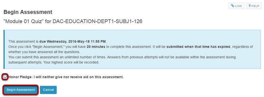 Begin assessment.