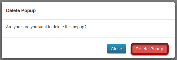 Click Delete Popup to confirm deletion.