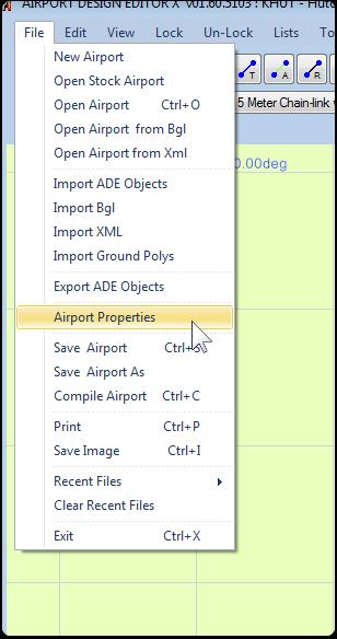 Open the Airport Properties