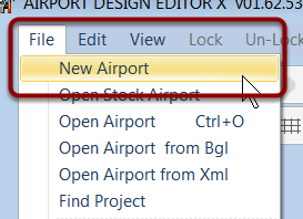 Open the new airport dialog