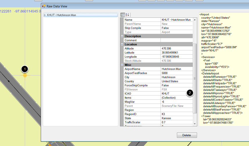 Open the airport properties in the raw data view
