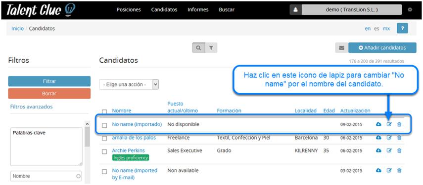 Cómo editar la información de los candidatos que subes vía Correo Electrónico