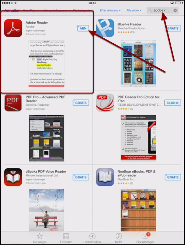 Hent Adobe Reader i App Store