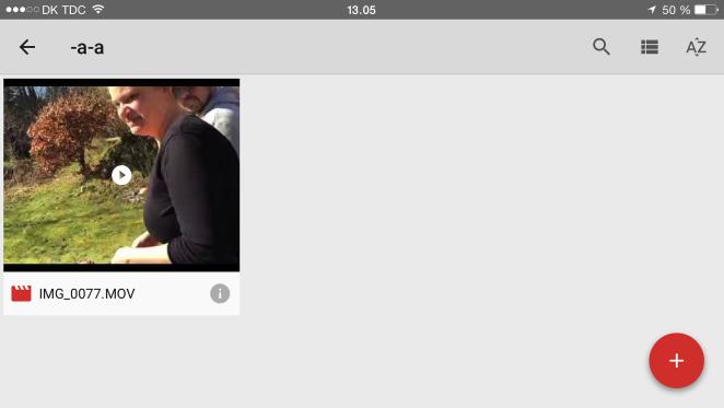 Upload via Google Drev app fra mobil enhed