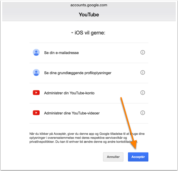 Du skal acceptere at iPadén må rode med Youtubekontoen