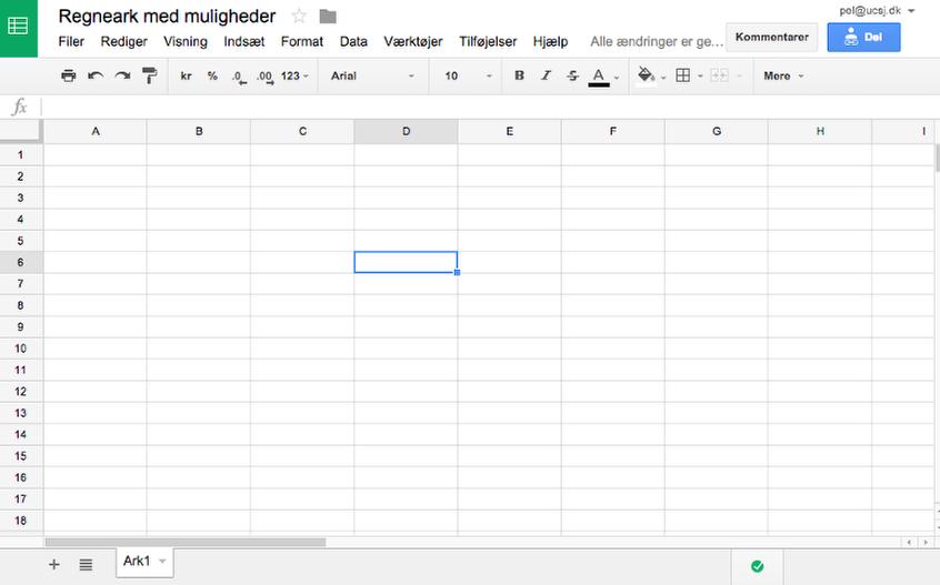 Regneark med muligheder - Google Sheets
