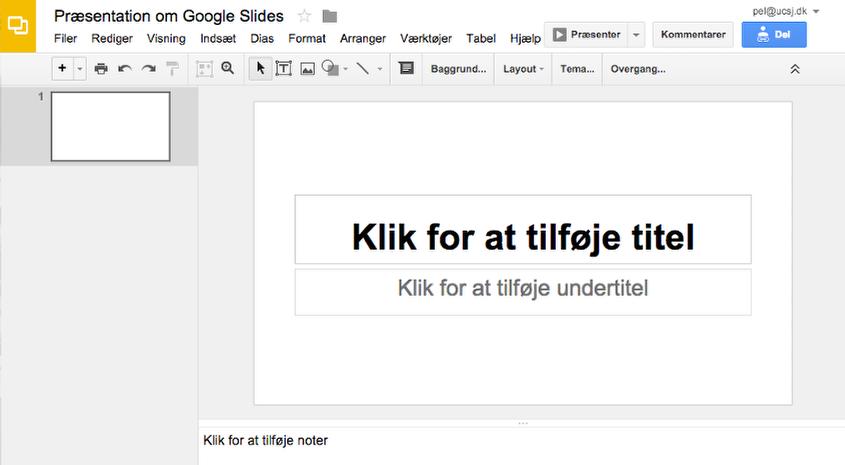 Præsentation om Google Slides