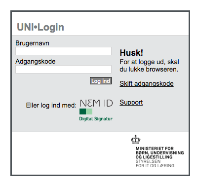 Log på med UNI•Login