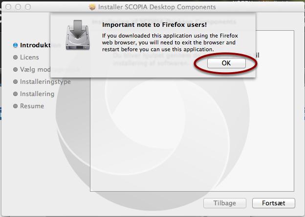 Bemærk at Firefox kræver genstart