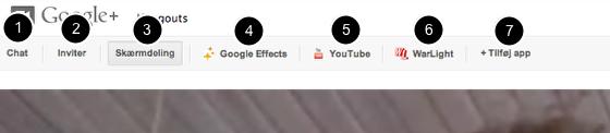Værktøjslinjen i Google Hangouts