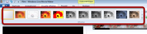 Vælg den visuelle effekt