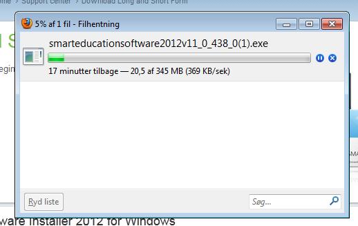 Installationsprogrammet downloades
