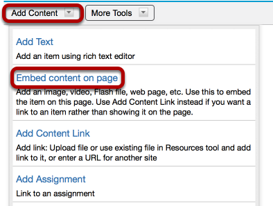 Method 2 (Linked image): Click Add Content / Embed content on page.