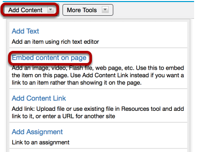 Click Add Content / Embed content on page.