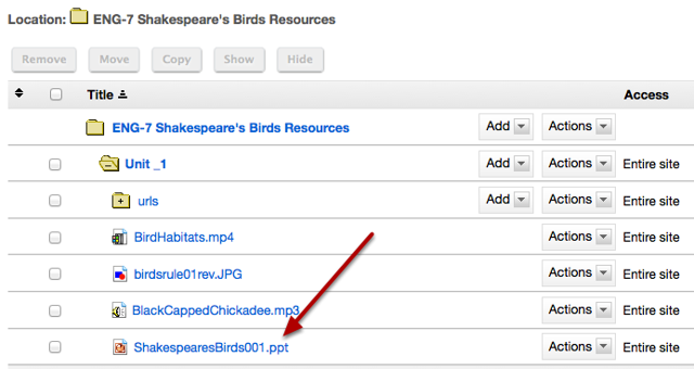 Notice that the uploaded file has been placed in the Lessons page folder in Resources.