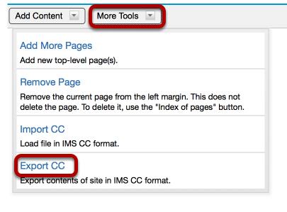 Click More Tools / Export CC.
