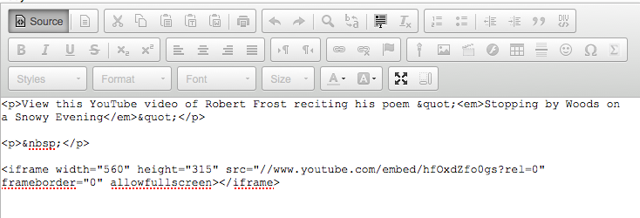 Position your cursor where you would like the video embedded, then paste the YouTube embed code (CTRL-V - PC or COMMAND-V - MAC).