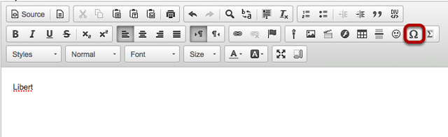 Click the Insert Special Characters icon.