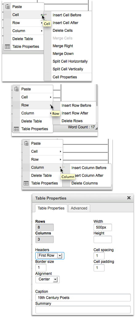 Select the Table Element that you want to edit (Cell, Row, Column, Table or Delete).