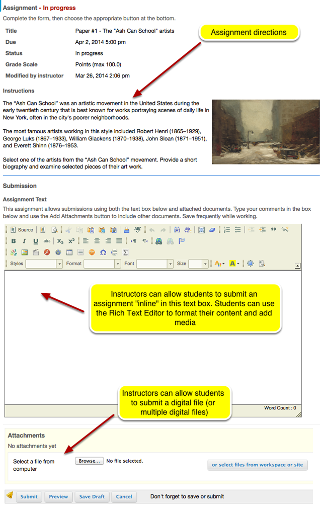 Example of a student view of an Assignment: