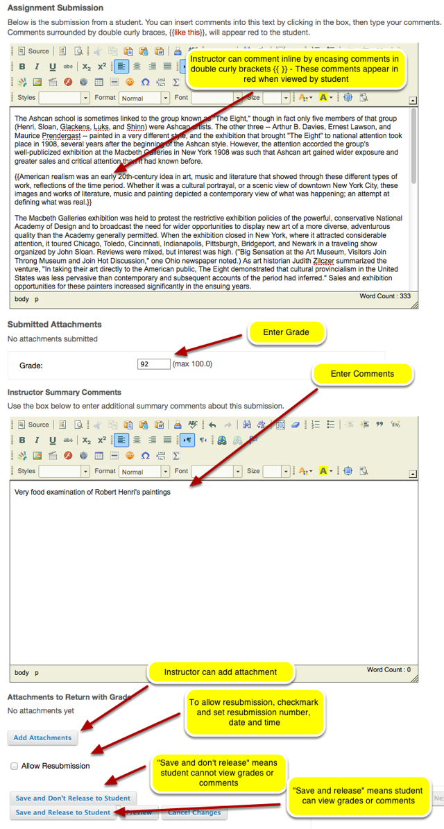 Inline Submission Grading: (If student submits Assignment Inline using text box)