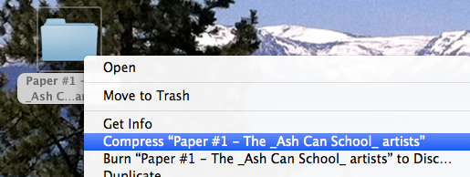 Example: Creating the zip archive file on a Mac.