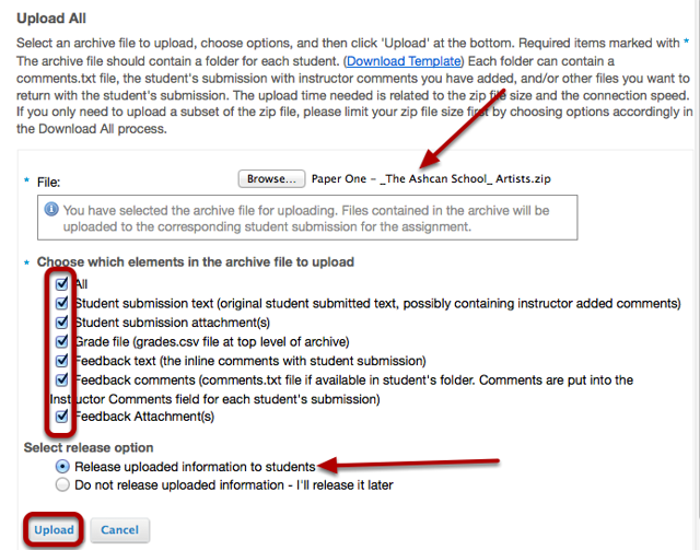 Checkmark the Feedback boxes, then click Upload