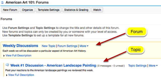 Example of Forum with one Topic: