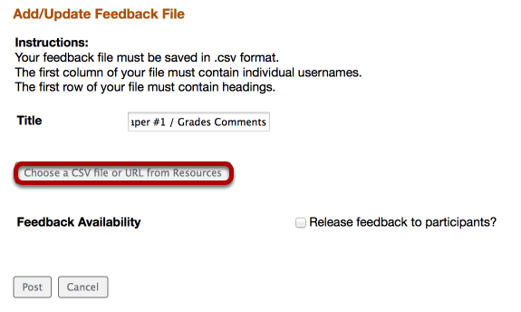 Click Choose a CSV file. Locate the .csv file on your computer (or in Resources) and click Open / Continue.